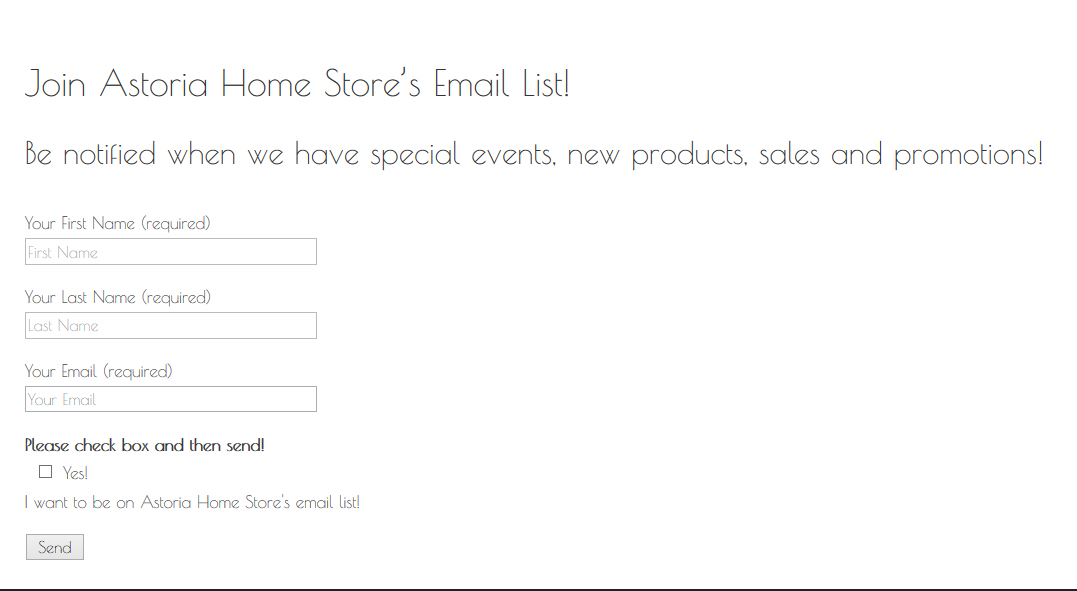 Join Astoria Home Store's email list here!
