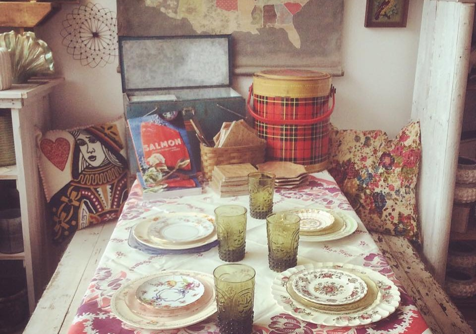 Backyard BBQ time is upon us!  We have festive paper plates and napkins, outdoor candles, and a few vintage coolers!