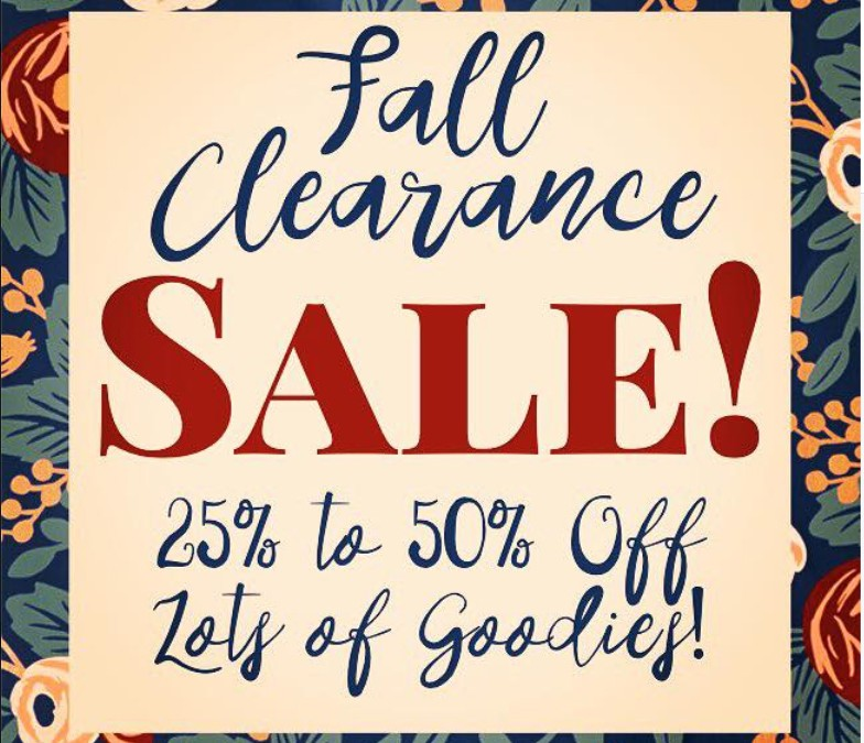 Stop on by starting today  because we are clearing a lot of inventory to make room for new things!!!  Enjoy 25-50% off select merchandise!