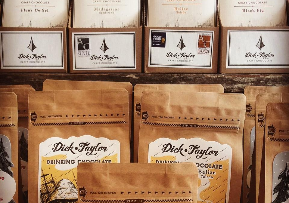 We are excited to be carrying this Delicious  Dick Taylor line of bean-to-bar chocolate bars and drinking chocolate.  Perfect for cozening up with a blanket and a good book!