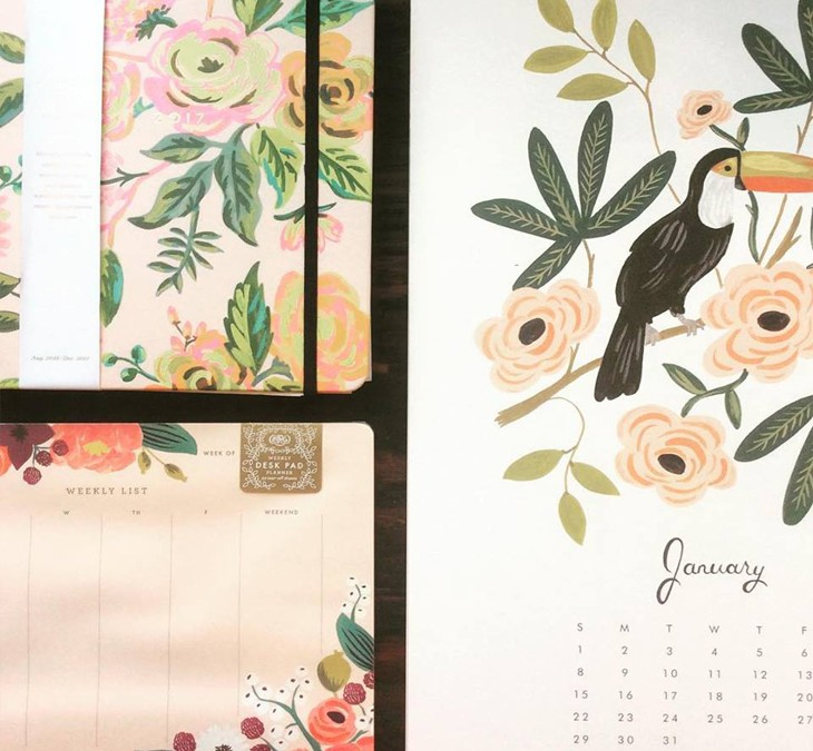 Turn the page to 2017 and get organized!  Snag the last few Rifle Paper Co  calendars and planners for 25% off!  While supplies last!