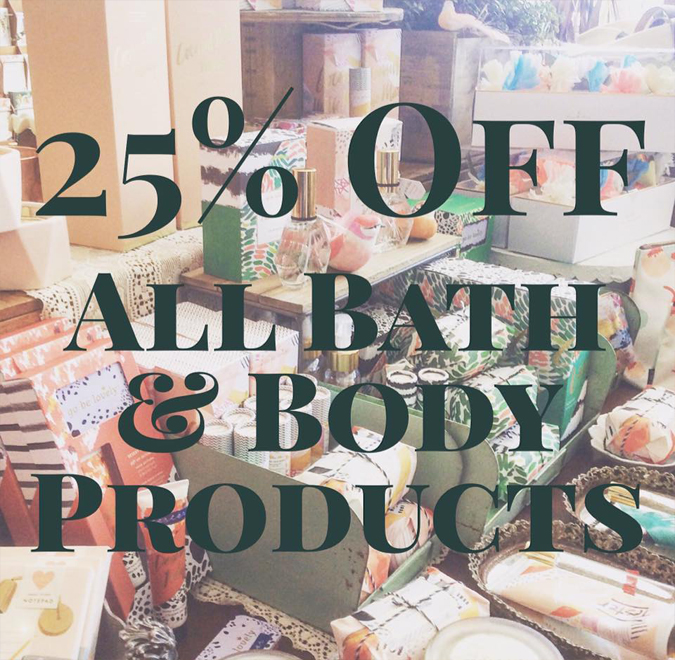 Need a little pick me up?  For a limited time take 25% off your purchase of  hand creams, perfumes, washes, and sets.  We are getting ready for some great new products! Yay!