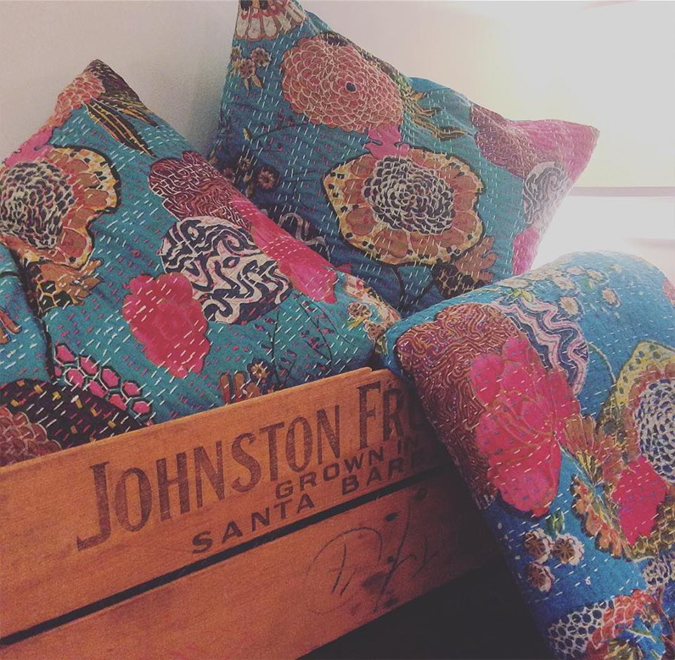 Look at the bright side!  Just got these fun and cheery Kantha-style quilts and pillows back in stock!  They come in twin or queen  and have been very popular as throws and coverlets.