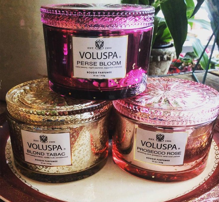 Lots of your favorites from Voluspa are back in stock!  We even have a few brand new scents  including Perse Bloom, a light floral, and Blond Tabac, a warm citrus.  Great gifts and beautiful re-usable containers!