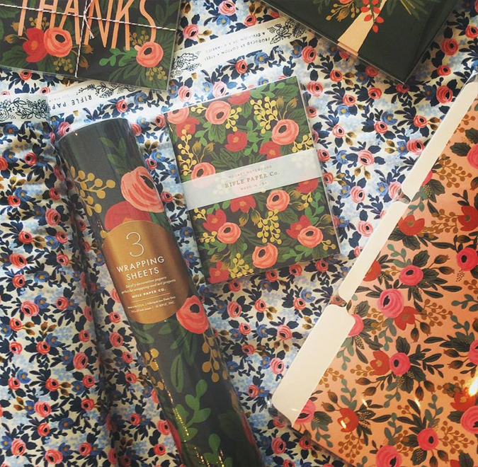 Rosa, Rosa, Rosa! Fabric, journals, folders, wrapping paper and more!  We have these in stock – BUT –  New fabric and Paper products from our favorite Rifle Paper Co are coming soon!