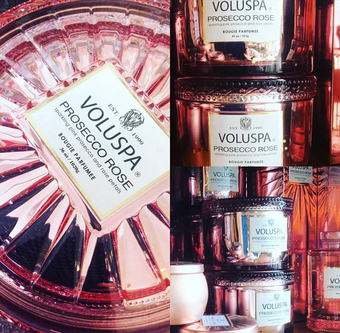 New arrivals from Voluspa including the mother of all Prosecco Rose candles:  the 36oz Grande Maison Candle with three wicks and 100+ hour burn time.