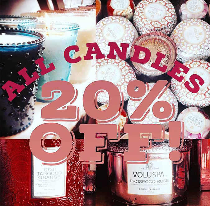 One last thing for our anniversary:  as a thank you to all are awesome customers,  our bestselling candles are ALL 20% OFF all day Friday.  Every single one!