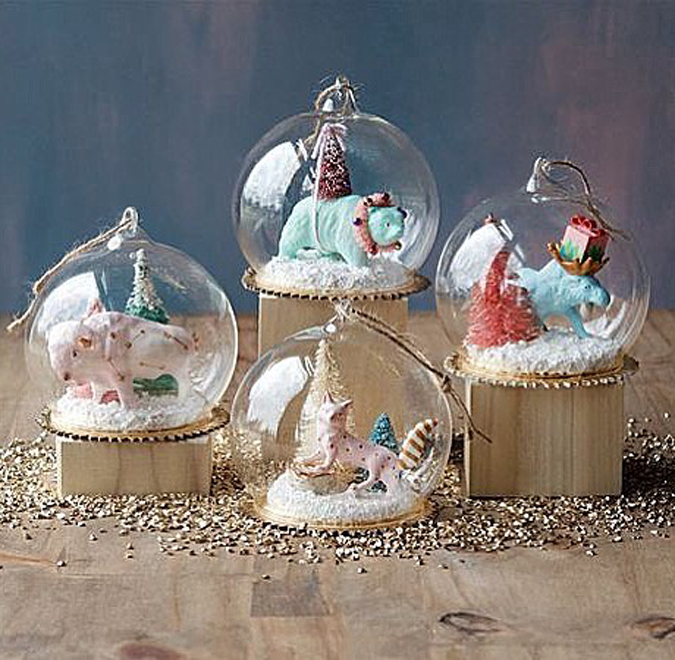 Unpacking new holiday goodies  including these adorable woodland themed domes  – great as Ornaments or to be part of your mantle-or table-scape!