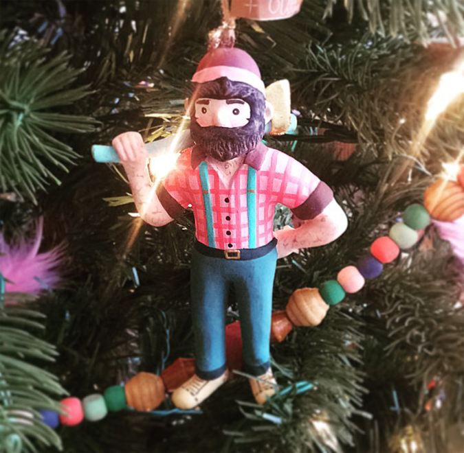 New in the shop! -The cutest Little Paul Bunyan Lumber Jack Ornaments  Complete with plenty of manly chest hair ;)