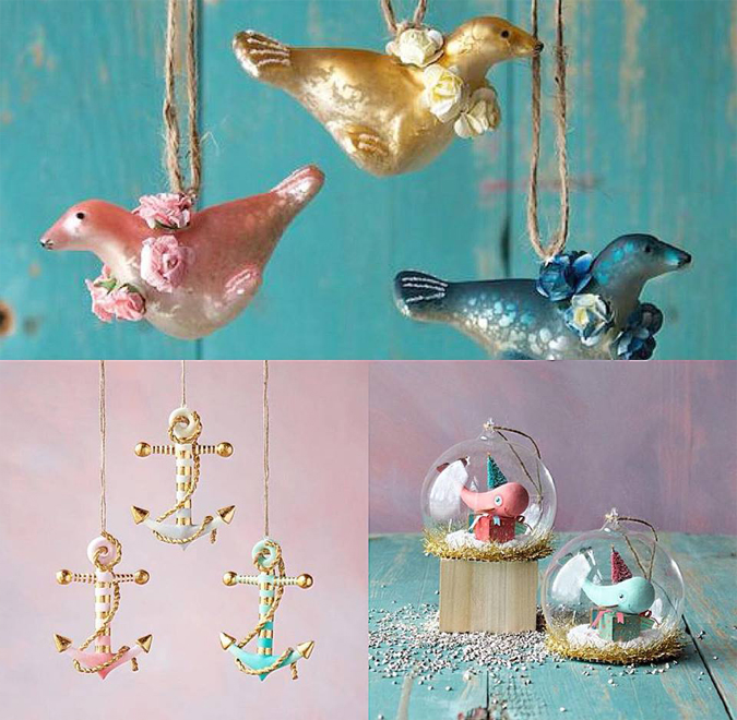 New nautical-themed ornaments in the shop!!!  Sea lions with floral wreaths, pastel anchors wrapped in gold rope,  and tree-toting whales, of course!