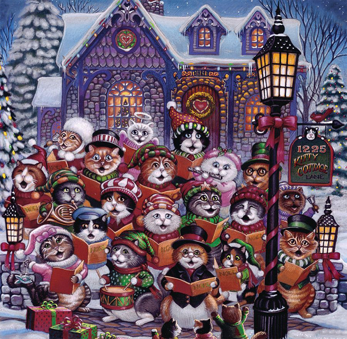 Today seems the kind of day for a big puzzle…  how about one combining Christmas and cats???  We just got these and advent calendars at Astoria!!