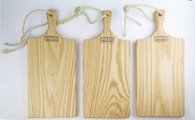 Medium Set of 3 Hand Made Mendocino Red Oak Hardwood Charcuterie Serving Platter Paddle Cutting Board - Astoria Home Decor and Gift Shop Fort Bragg