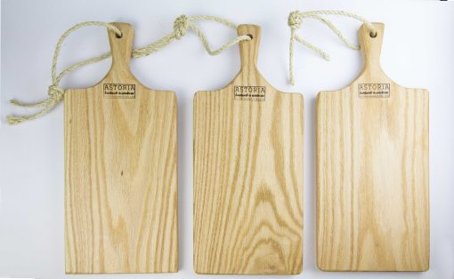 MADE IN USA Handcrafted Medium Charcuterie Set of 3 Hand Made Mendocino Red Oak Hardwood Charcuterie Serving Platter Paddle Cutting Board - Astoria Home Decor and Gift Shop Fort Bragg