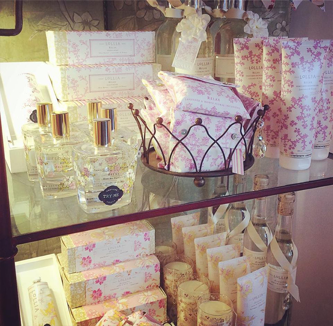 Lovely Lollia is here!  Luxurious bath products in intoxicating scents!  Receive free lotion samples with every Lollia purchase while supplies last!