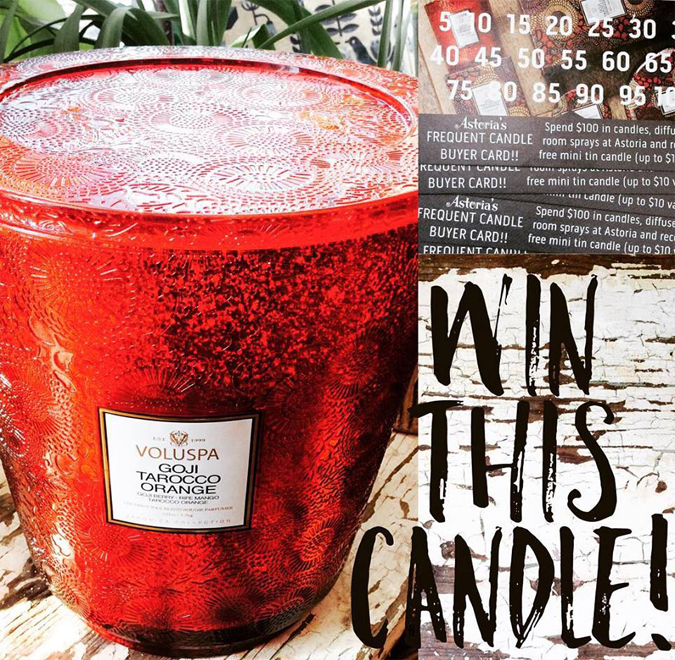 Announcing this year's candle card drawing!  Last year we gave out over 60 free candles for those of you who completed the punch card.  This year, in addition to your free mini tin candles,  you're also entered to win this massive hearth candle from Voluspa  ($198 value) for every card you complete! Yay!!!
