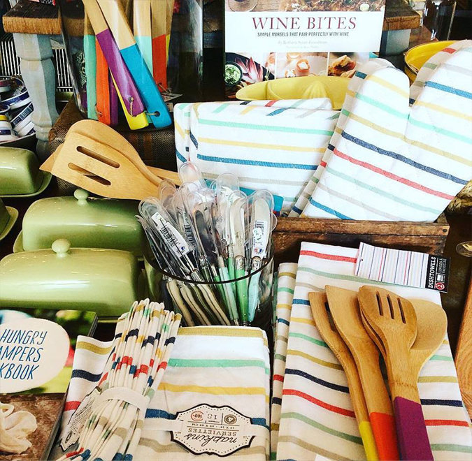 Lots of fun new goodies in the store  including these summery striped napkins,  tea towels, and pot holders!