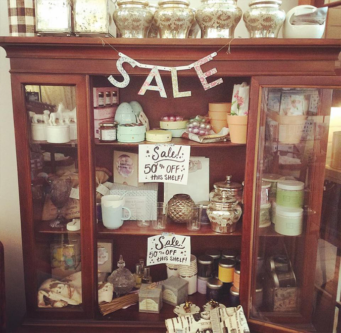 Sale shelf is FULL and everything is now 50% off!!!