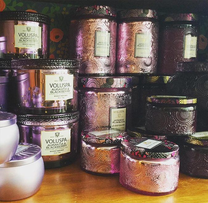 So many pretty purple vessels with just as lovely scents inside!  We have many scented candles to choose from  Just re-stocked!!