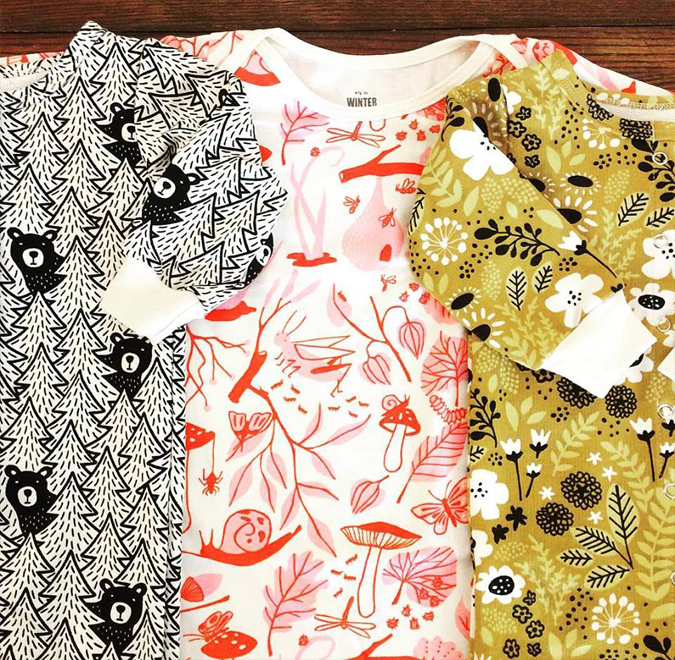 Cute new patterns and styles from Winter Water Factory are here!  Lots of snuggly fall rompers, dresses,  -and a few sweatshirts!