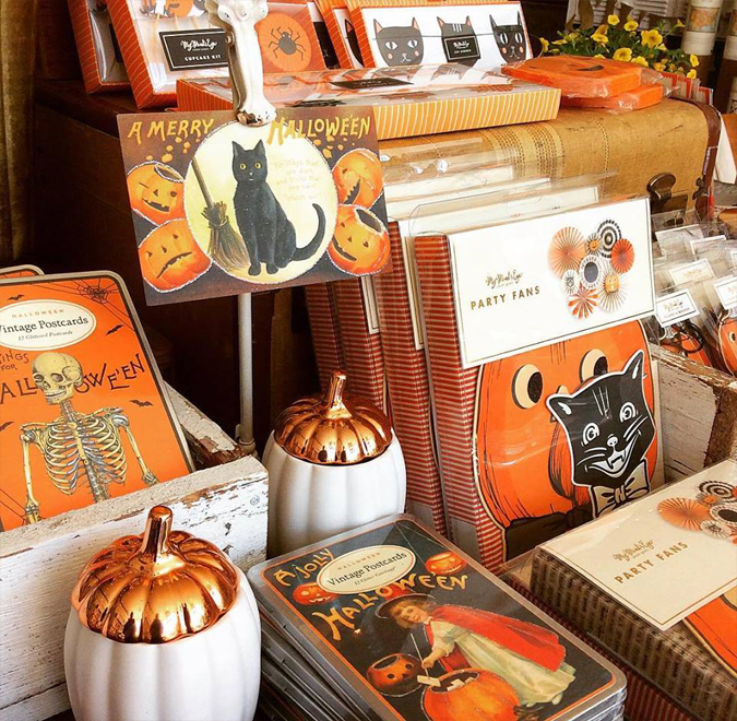 New glittered postcards are in!  — they fit in so well with our  vintage Halloween pinwheels and garlands