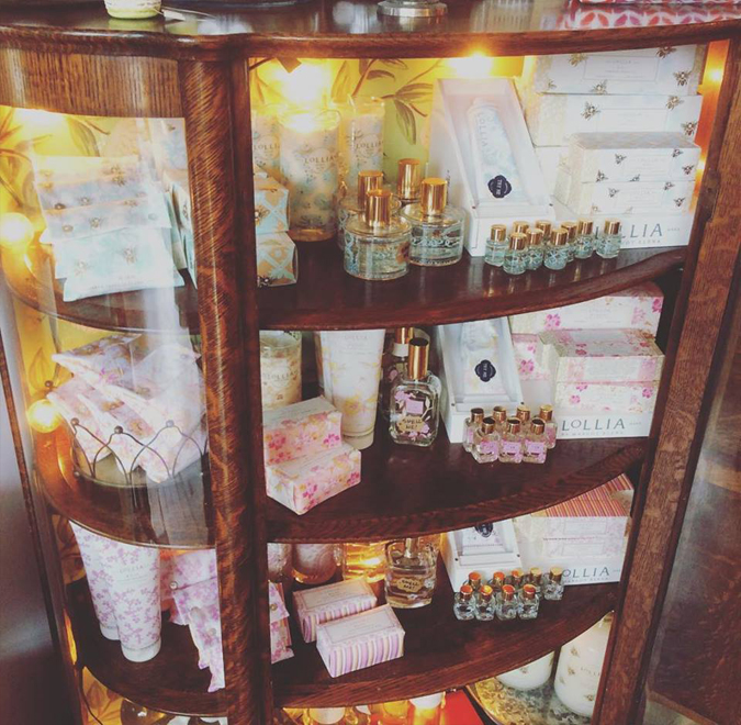 Lollia has a new home in our old curio cabinet.  Stop by and discover your new favorite fragrance ❤️ 💕 👃 🌸