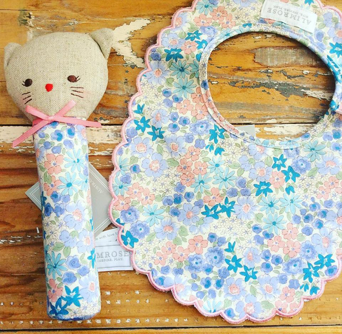 The cutest little squeakers and bibs are back!  Unicorns, fawns, and kitties galore!