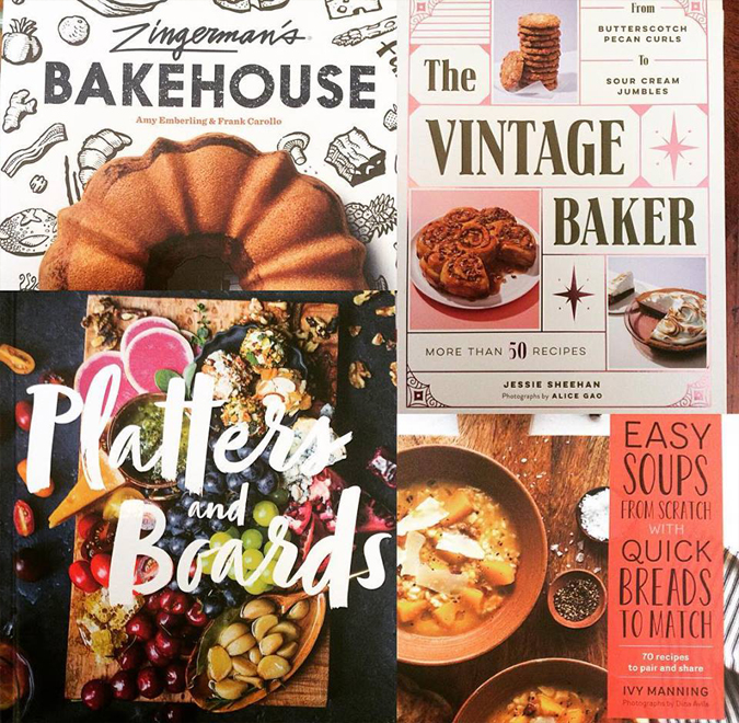 Lots of new cookbooks in the store!  'It's the season for baked goods and entertaining!