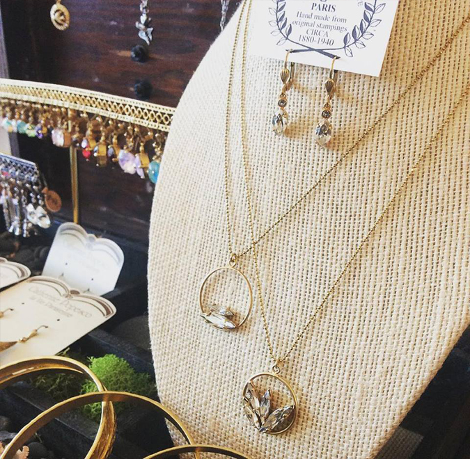 Glittery new necklaces and earrings arrived from La Vie Parisienne.  We love with these new necklaces  featuring a modern crystal and hoop design  while maintaining the refined elegance that defines this brand.