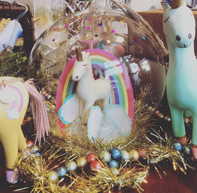 We have such happy little unicorn dome ornaments  🦄💕🌈