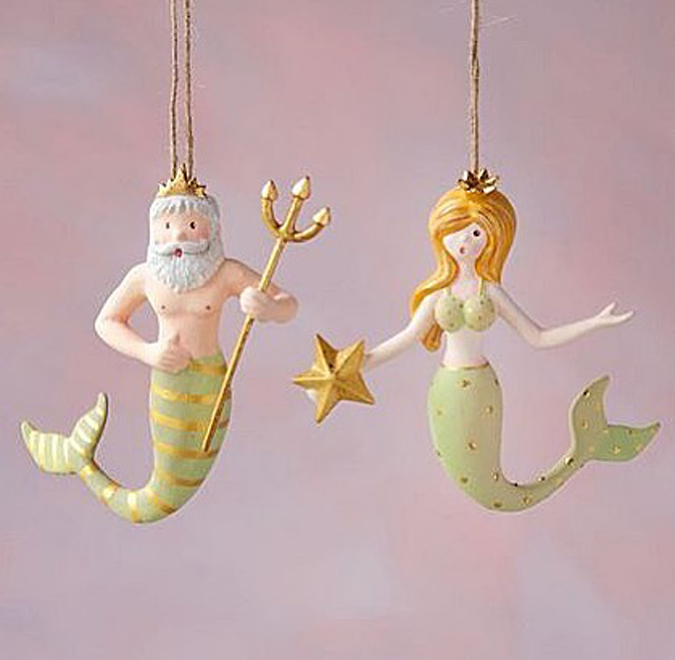 The cutest Mermaid and Neptune ornaments are in the shop!