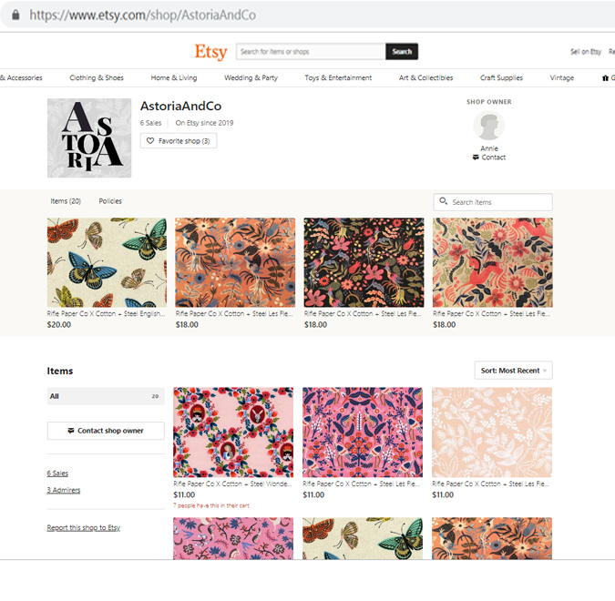 Shop Rifle Paper Fabric through our AstoriaAndCo. Etsy Profile!  Beautiful fabric sold by the yard!