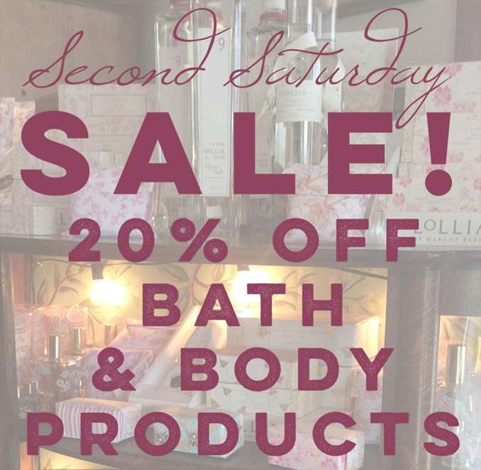 From 5 – 7:30 tonight  enjoy a tasty beverage and SALE!  Grab a last minute gift for mom or treat yourself!  Lots of luxurious creams, perfumes, soaps,  and more will be 20% off starting at 5 tonight!