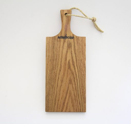 Made in USA Handcrafted Handmade in Mendocino Gift Shop Mendocino Stamped Charcuterie Cheese Paddle Board - Single Medium Red Oak Wood Paddle