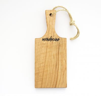 Made in USA Handcrafted Handmade in Mendocino Gift Shop Mendocino Stamped Charcuterie Cheese Paddle Board - Single Small Red Oak Paddle