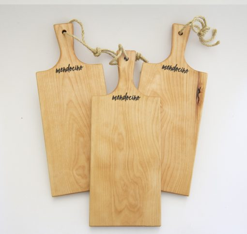 Made in USA Handcrafted Handmade in Mendocino Gift Shop Mendocino Stamped Charcuterie Cheese Paddle Board - Three Medium Birch Wood Paddles