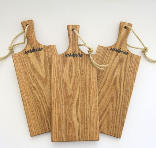 Made in USA Handcrafted Handmade in Mendocino Gift Shop Mendocino Stamped Charcuterie Cheese Paddle Board - Three Medium Red Oak Paddles