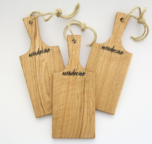 Handmade in Mendocino Gift Shop Mendocino Stamped Charcuterie Cheese Paddle Board - Three Small Red Oak Paddles