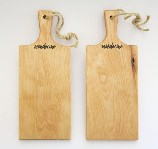 Made in USA Handcrafted Handmade in Mendocino Gift Shop Mendocino Stamped Charcuterie Cheese Paddle Board - Two Medium Birch Wood Paddles