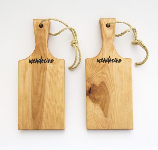 Handmade in Mendocino Gift Shop Mendocino Stamped Charcuterie Cheese Paddle Board - Two Small Birch Wood Paddles
