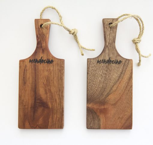 Handmade in Mendocino Gift Shop Mendocino Stamped Charcuterie Cheese Paddle Board - Two Small Mahogany Wood Paddles