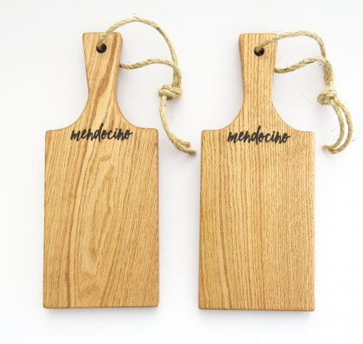 Handmade in Mendocino Gift Shop Mendocino Stamped Charcuterie Cheese Paddle Board - Two Small Red Oak Paddles