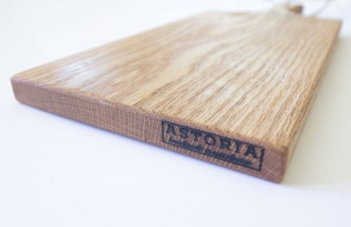 Made in USA Handcrafted Handmade in Mendocino - Mendocino Stamped Charcuterie Cheese Paddle Board - Medium Red Oak - Mendo Stamp Close-up - Astoria Stamp - Astoria Home Decor and Gift Shop in Downtown Mendocino