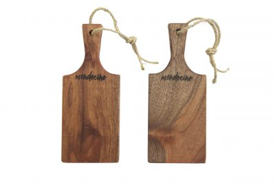Made in USA Handcrafted Handmade in Mendocino - Mendocino Stamped Charcuterie Cheese Paddle Board - Small Mahogany Hardwood - Two Combo Deal - Astoria Home Decor and Gift Shop in Downtown Mendocino