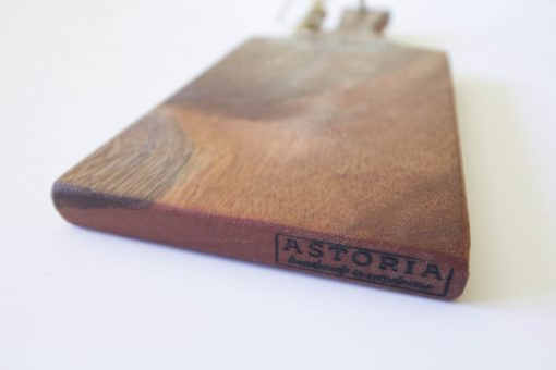 Handmade in Mendocino - Mendocino Stamped Charcuterie Cheese Paddle Board - Small Mahogany - Mendo Stamp Close-up - Astoria Stamp - Astoria Home Decor and Gift Shop in Downtown Mendocino