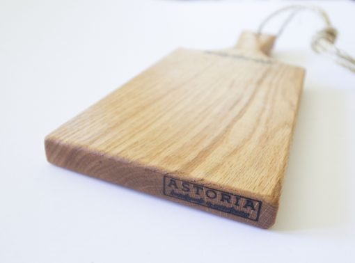 Handmade in Mendocino - Mendocino Stamped Charcuterie Cheese Paddle Board - Small Red Oak - Mendo Stamp Close-up - Astoria Stamp - Astoria Home Decor and Gift Shop in Downtown Mendocino