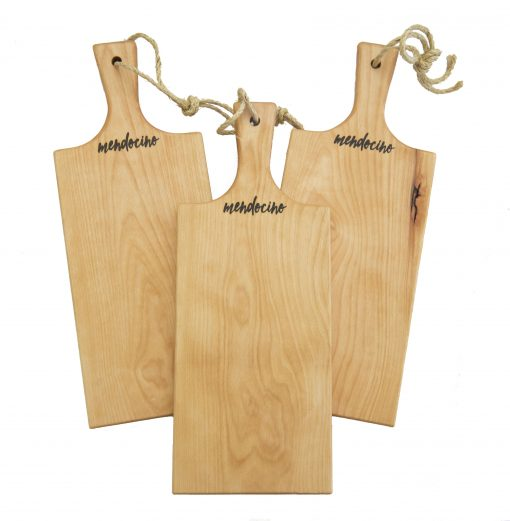 Made in USA Handcrafted Handmade in Mendocino - Mendocino Stamped Charcuterie Cheese Paddle Boards - Medium Birch Hardwood - Three Combo Deal - Astoria Home Decor and Gift Shop in Downtown Mendocino