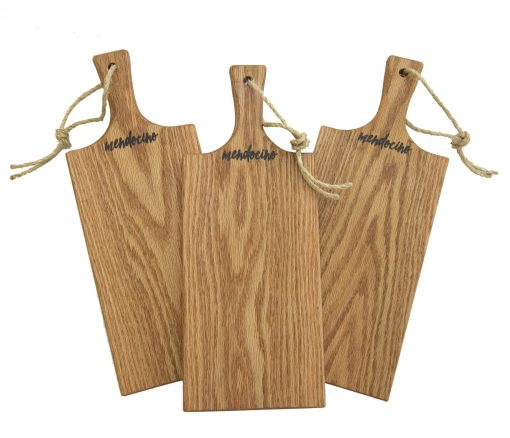Made in USA Handcrafted Handmade in Mendocino - Mendocino Stamped Charcuterie Cheese Paddle Boards - Medium Red Oak Hardwood - Three Combo Deal - Astoria Home Decor and Gift Shop in Downtown Mendocino