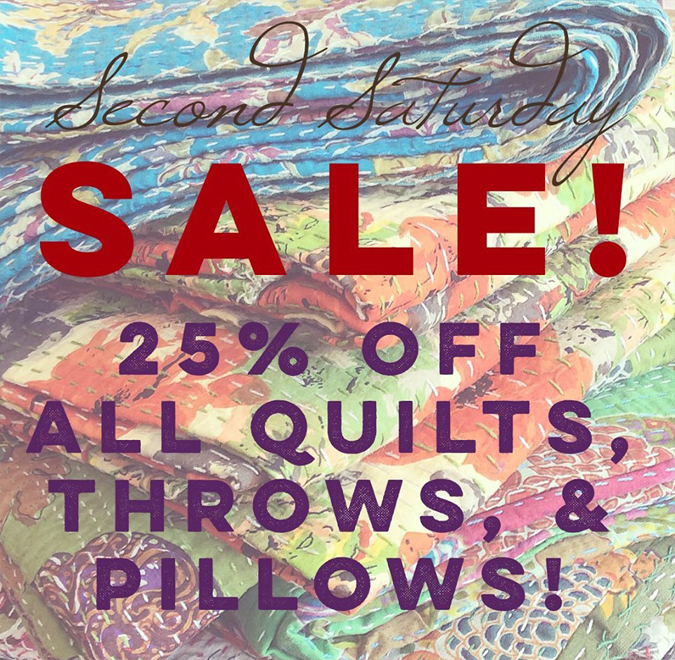 Tonight from 4-7  we'll be open for Second Saturday  and we'll have a fun little sale and tasty beverage!  Stop by to pick up that special  quilt or pillow you've been eying at 25% Off!