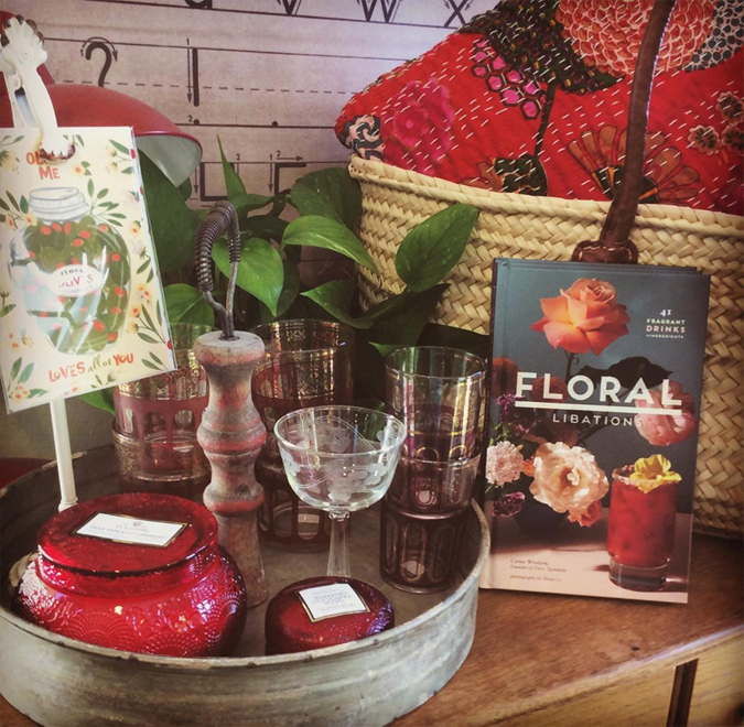 Shopping Mendocino Cookbooks - Cocktail book - Vintage glassware - Warm Summer - Summertime - Floral
