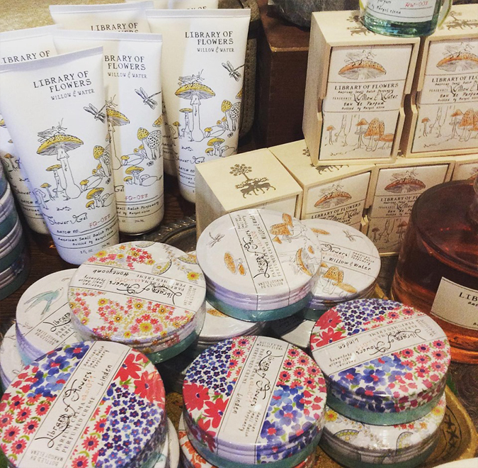 We're Restocked on your favorites from Library of Flowers! We have: Willow and Water Handcream,  Perfume { Eau de Parfum }, Shower Gel, and Bubble Bath